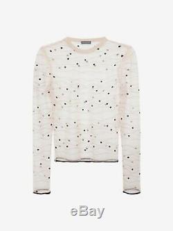 Alexander McQueen Womens Long Sleeve Sheer Wave Blouse Top Polka Dot Size M NEW