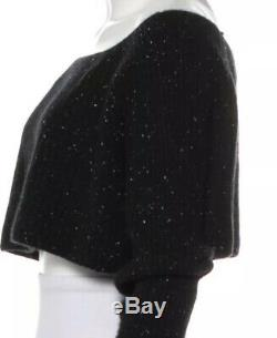 Alexander Wang Top Black Stretch Knit Small Long Sleeve Tee Crop S Cashmere