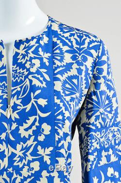 Andrew Gn NWT $1890 Royal Blue Cream Silk Floral Long Sleeve Tunic Top SZ 38