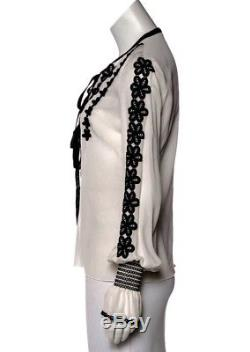 Andrew Gn off white Embroidered Long Sleeve Blouse Top