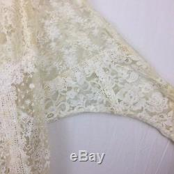 Antique Victorian Edwardian Long Sleeve Lace Beaded Top Blouse Petite