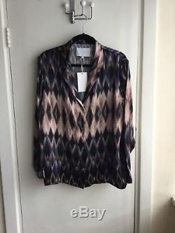 Asceno Luxury Silk PJ Set, Large, Pink Diamond, Trousers + Long Sleeve Top