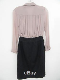 Auth CARVEN Long Sleeve Silk Blend Beige Top and Black Wool Bottom Dress, Size S