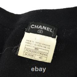 Authentic CHANEL CC Logos Button Long Sleeve Cardigan Tops Blue Black Y03048f