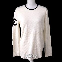 Authentic CHANEL Vintage CC Logos Long Sleeve Cambon Tops White #48 TG00132