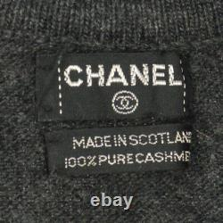 Authentic CHANEL Vintage CC Logos Long Sleeve Cardigan Tops Gray Y03138i