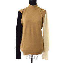 Authentic CHANEL Vintage CC Logos Long Sleeve Knit Tops Black Brown Y03039i