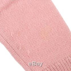 Authentic CHANEL Vintage CC Logos Long Sleeve Knit Tops Pink Cashmere AK25519f