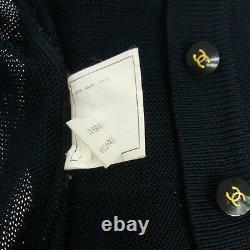 Authentic CHANEL Vintage CC Logos Long Sleeve Long Cardigan Navy Y02178d