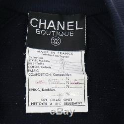 Authentic CHANEL Vintage CC Logos Long Sleeve Tops Navy #38 AK34106d