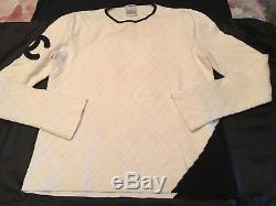 Authentic Chanel Vintage Cambon Sweater Top CC Logo White/black Long Sleeve Sz46
