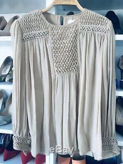 Authentic Chloé Tan Silk Long Sleeve Pleated Blouse Top $1,800+