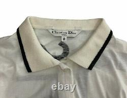 Authentic Christian Dior Big Logo Long Sleeves Polo Shirts Tops #M White Rank A