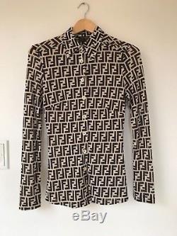 Authentic Fendi Zucca Vintage Monogram Logos Shirts Long Sleeve Tops 30inc
