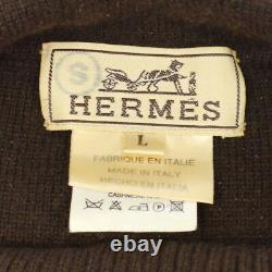 Authentic HERMES Vintage Logos Long Sleeve Tops Brown Cashmere #L Y03131b
