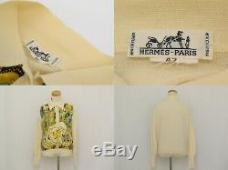 Authentic Hermes Knit Long Sleeves Tops Sweater Off White Ladies Women 42 France