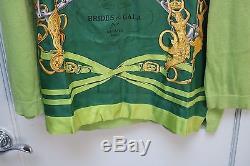 Authentic Hermes Silk Scarf Shirt Tops Long Sleeve Brides De Gala Green L Italy