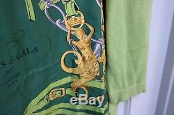 Authentic Hermes Silk Scarf Shirt Tops Long Sleeve Brides De Gala Green L Italy