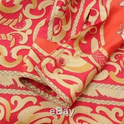 Authentic Hermes Silk Shirt Long Sleeves Top Red Yellow 38 Grade A Used At