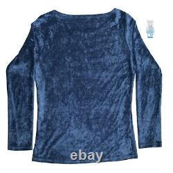 Authentic Hysteric Glamour Blue Velour / Velvet Burnout Bat Mesh Top S
