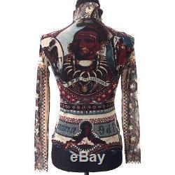 Authentic Jean Paul Gaultier Vintage Logos Long Sleeve Tops Bordeaux #40 G03108