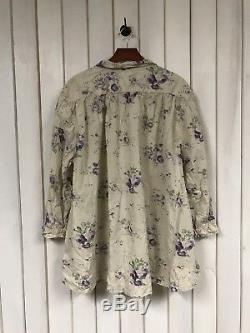 Authentic Magnolia Pearl Cotton Top With Long Sleeves In Purple Floral Pattern