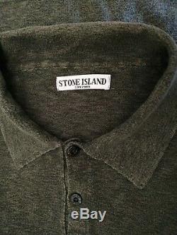 Authentic STONE ISLAND Long Sleeve Khaki Green Polo Shirt Jumper Large Top Badge
