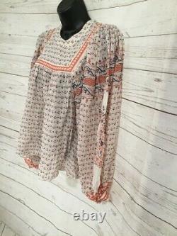 Authentic Ulla Johnson Women's Blouse Top Floral Long Sleeve White/Orange Size 4
