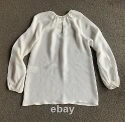 Authentic Valentino White Silk Long Sleeve Blouse Top $1,200+