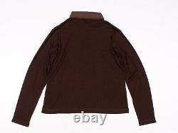 Authentic Vintage Chanel Identification Brown Knit Long Sleeve Polo Top L Large