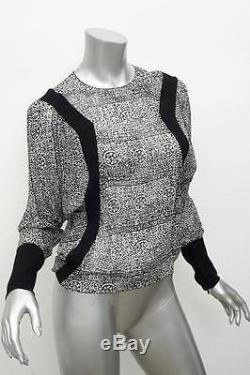 BALENCIAGA Black+White Chiffon Print Long-Sleeve Split-Back Blouse Top 38/6 NEW
