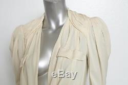 BALENCIAGA Ivory Silk Chiffon Draped Long-Sleeve Blouse Top 36/4 NWT $2K