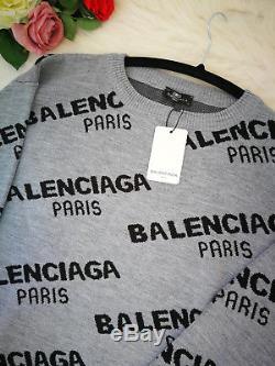 BALENCIAGA Women`s Blouse Sweatshirts Hoodies Cotton Long Sleeve Tops Gray