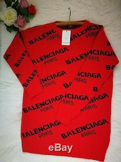 BALENCIAGA Women`s Blouse Sweatshirts Hoodies Tops Cotton Long Sleeve Red Shirts