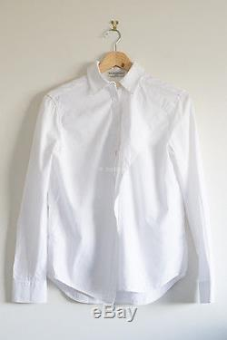 BALENCIAGA cotton button down shirt blouse top long sleeve white collared 34