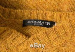 BALMAIN Womens Mustard Yellow Heather Knit Wool V-Neck Long Sleeve Sweater Top M