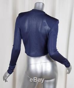 BALMAIN Womens Navy Blue Knit Long-Sleeve Cropped Surplice Top Blouse Shirt XS