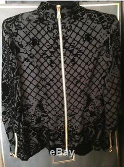 BALMAIN X H&M Silk-Blend Black Velvet Top Turtleneck Long Sleeve Blazer Size 12