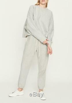 BASSIKE raw cut off sweat sweatshirt top light grey marle long sleeve sweat XS/S