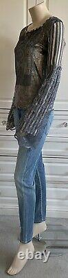 BNWOT SAVE THE QUEEN grey & gold shades top with lace on long sleeves UK10-12