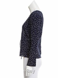 BNWT REALISATION PAR'the bianca' navy star top long sleeve silk tie front XXS