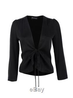 BNWT REALISATION PAR'the bianca' top long sleeve black satin shiny silk low S