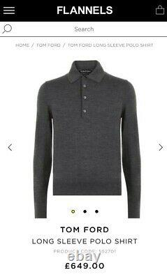 BNWT RRP £590 TOM FORD wool sweater long sleeve polo top size 50 uk/usa 40 or L