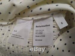 BNWT Reformation Reign Top Pepper Black White Polka Dots Long Sleeve Sweetheart