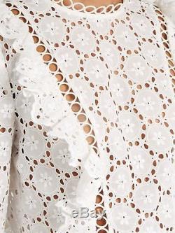 BNWT ZIMMERMANN divinity wheel top + shorts SET white ruffled long sleeve 0