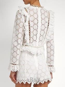 BNWT ZIMMERMANN'divinity wheel top' white ruffled long sleeve cotton anglaise 1