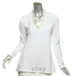 BRUNELLO CUCINELLI Womens White Beaded V-Neck Long Sleeve Top Sweater M NEW