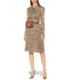 BURBERRY NEW $1000 Beige Plaid Nova Check Silk Sheer Long Sleeve Blouse Top 4/38