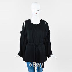 Balenciaga Black Long Sleeve Buttoned Slit Shoulder Belted Top SZ 42