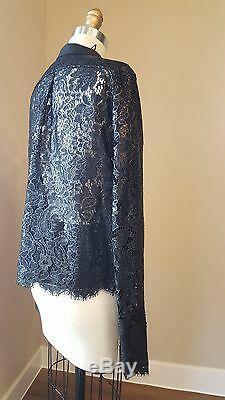 Balenciaga Coated Black Lace Long Sleeve Top Sz 38